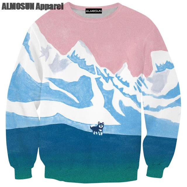 a465f9e46e2c ALMOSUN Snow Lone Wolf 3D All Over Print Crewneck Pullover Sweatshirts  Hipster Animal Hip Hop Sportwear Jumper Unisex