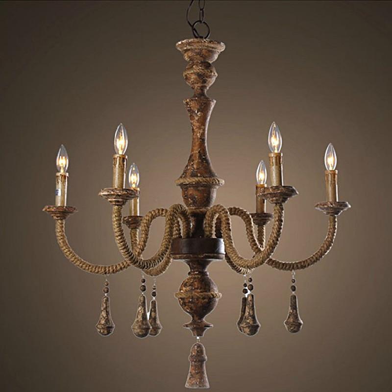 Chandelier Lamp Bedroom: Vintage Amercian Rustic Wooden Chandelier Lamp Living