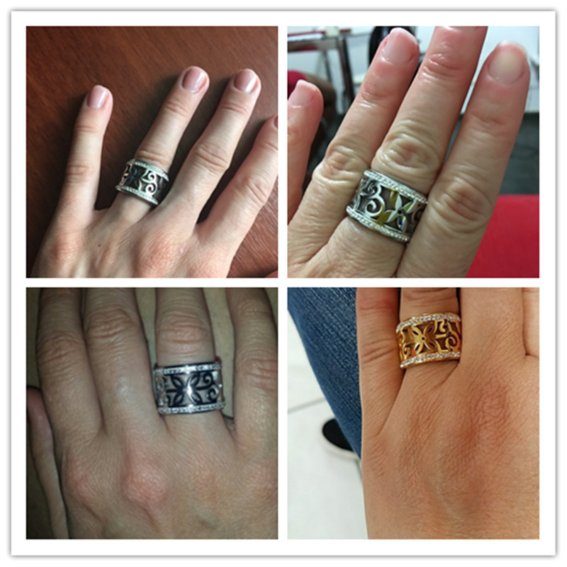 BORASI New Crystal Rings For Women White Rhinestone Stainless Steel Gold Color Wedding Female Flower Rings Teen Jewelry 5