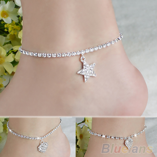 Hot Multi-pattern Love Heart Star Wedding Sandal Beach Anklet Chain Foot Jewelry B02 1MJF