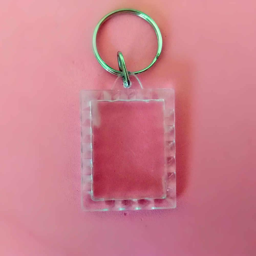 1 יחידות מיני מלבני תחרה הוספת תמונת תמונת מסגרת מפתח טבעת פיצול keychain
