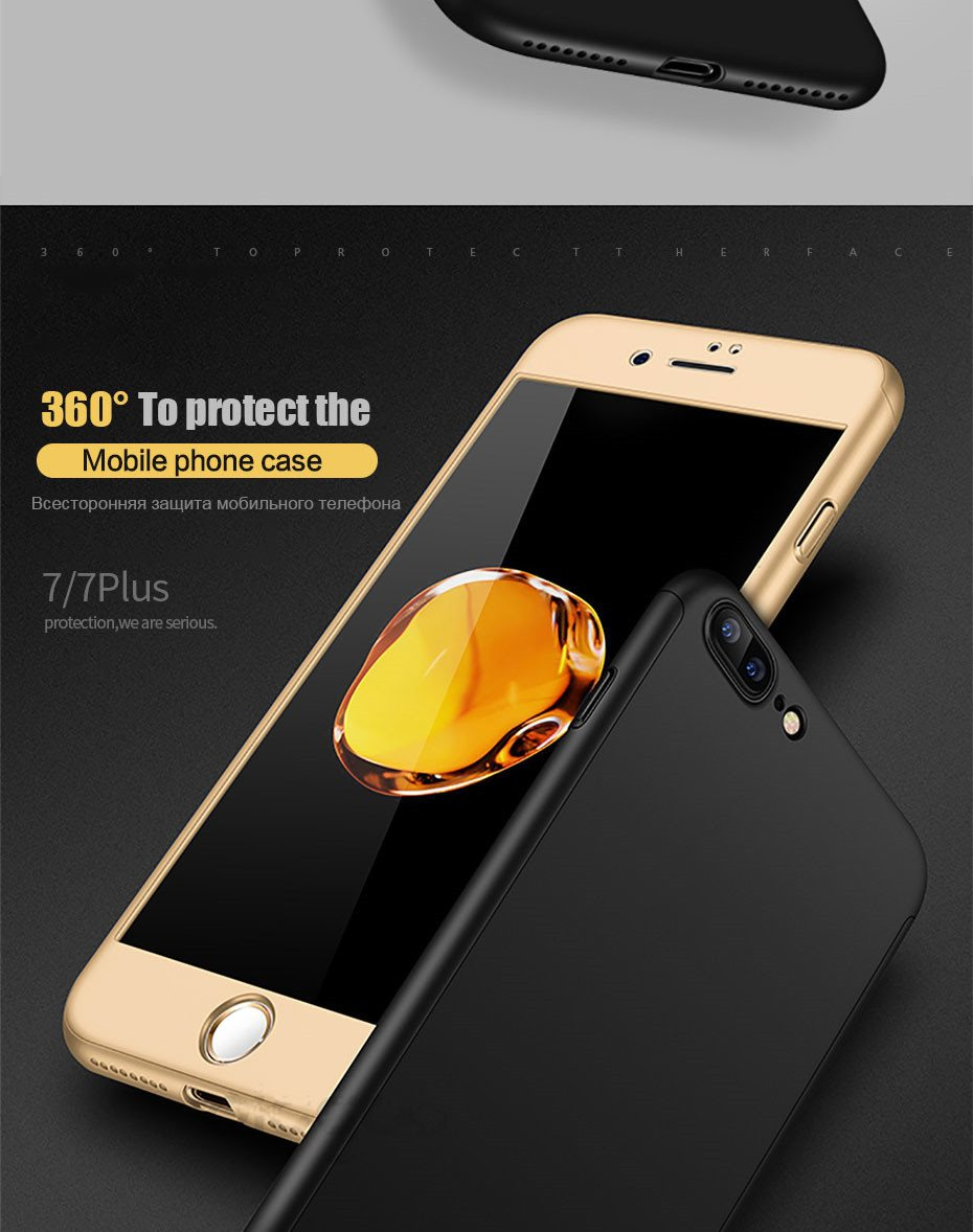 360 Degree Full Cover Phone Shell With Tempered Glass Case For iPhone Models 8