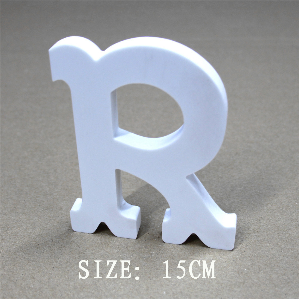 Free Standing Wedding Decorative 3D Artificial Wooden Letters White Letter 15cm Wood carving craft gfits for home decorations