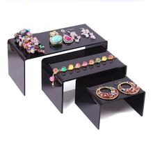 Hot sale Clear/ Black Jewelry Display Stand Toy Mobile Wallet Shoes Bracelets Plexiglass 3pcs/lot Necklace Earring Shelf