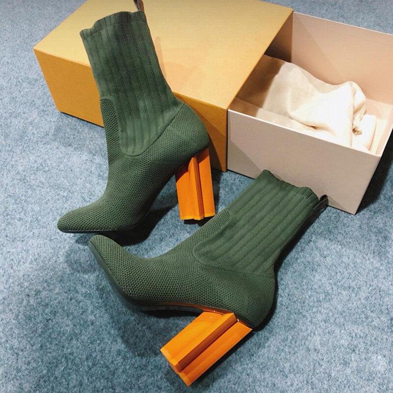 Botas as Zapatos Tejido Show Delgada Tobillo Moda De Damas Bombas Tacón Calcetín Mujer Show As Resbalón En Alto Silueta Tejer TqRvUPE