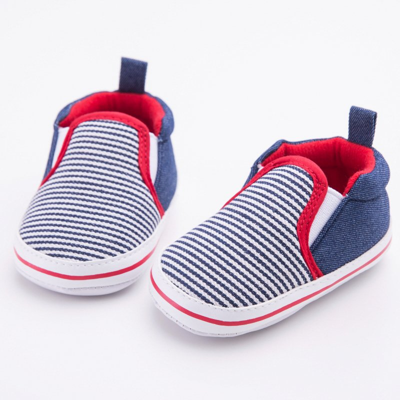 Fashion Toddler Striped Pattern Baby Boys Girls Crib Shoes First Walkers Soft Bottom Baby Shoes 0-12 Months