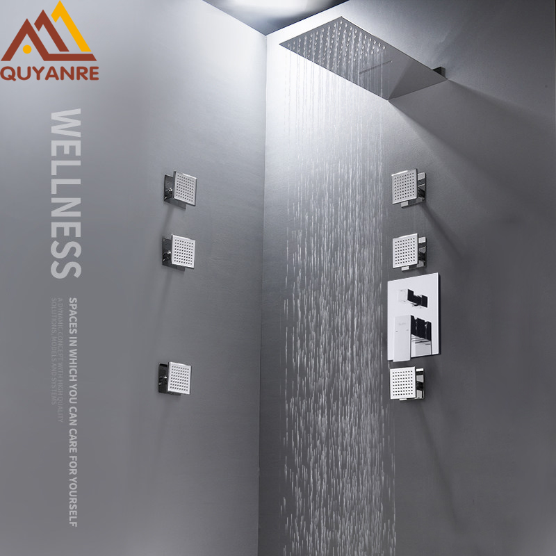 Quyanre 3-Way Shower Faucet Set Ultrathin Rain Waterfall Shower Head 6pc SPA Massage Jets Single Handle Mixer Tap Bath Shower