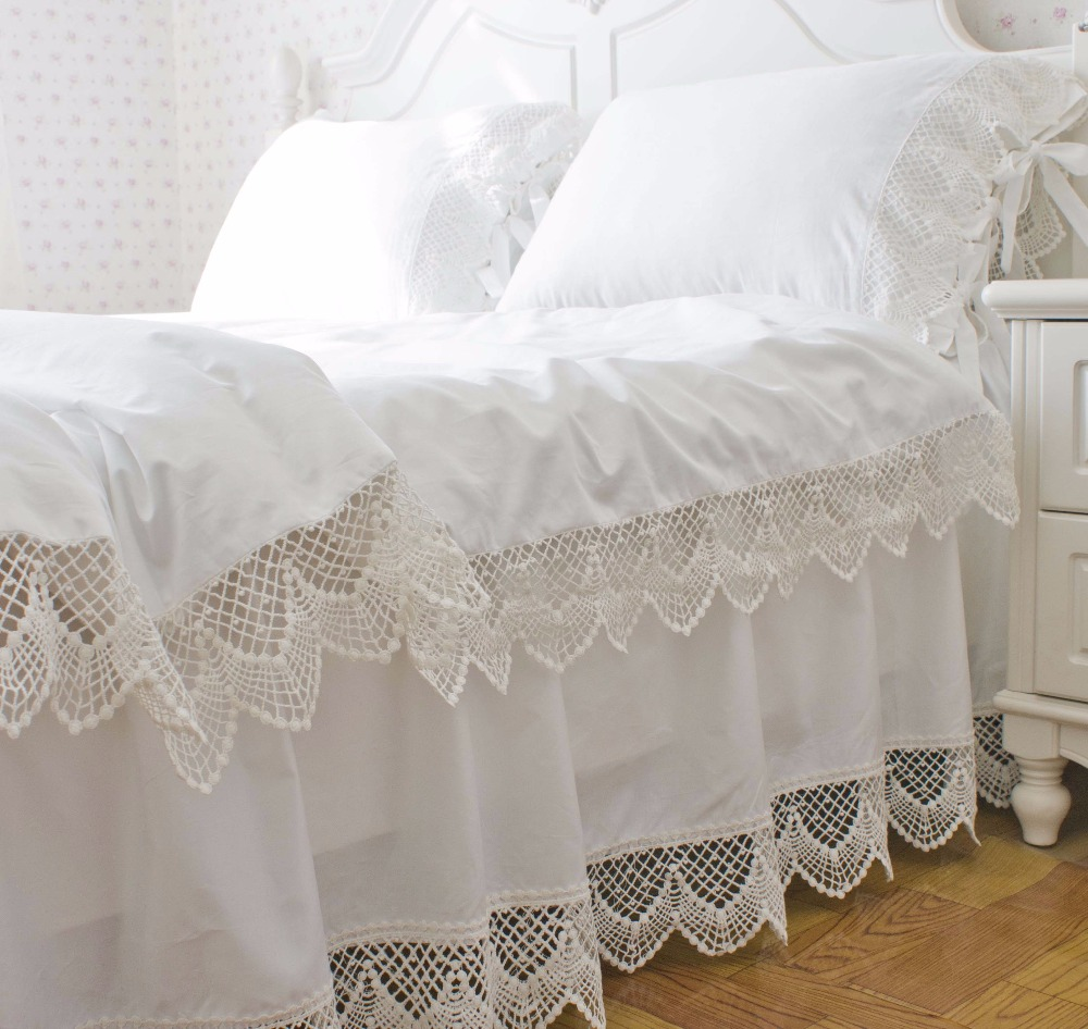 Korean satin white lace bedding duvet cover set twin full queen king size solid color princess ruffle bed skirt free shipping