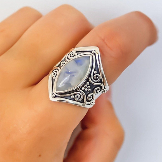 Vintage Silver Big Stone Ring for Women Fashion Bohemian Boho Jewelry 2018 New Hot 3