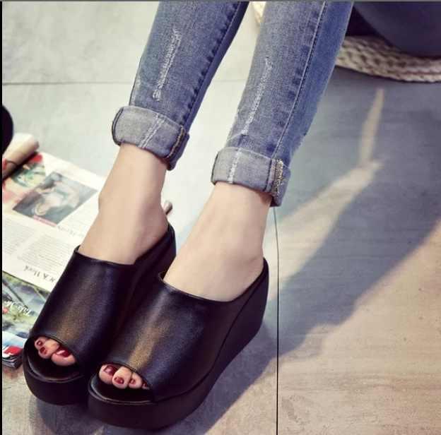 Sandales femmes 7.5 cm plate-forme compensées chaussures pour femmes talon épais ouvert Peep Toe sandales en cuir Style d'été glisser chaussures noires