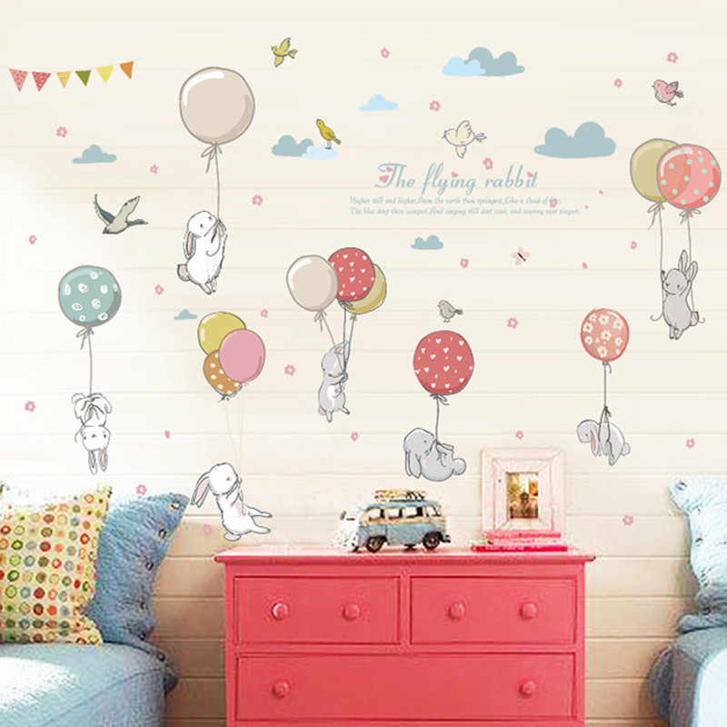Cartoon diy super cute balloon rabbit wall sticker for kids room birds cloud decor furniture wardrobe bedroom living room decal