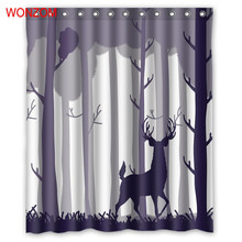 WONZOM 1Pcs Deer Waterproof Shower Curtain Wolf Bathroom Decor Zebra Decoration Animal Cortina De Bano 2017 Bath Curtain Gift