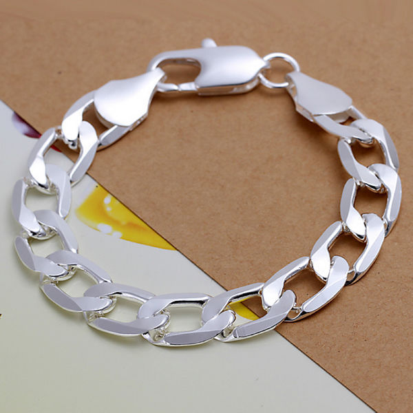 Fashion 925 Sterling Solid Silver Bracelet Jewelry Charm Chain Link Lots Bangle