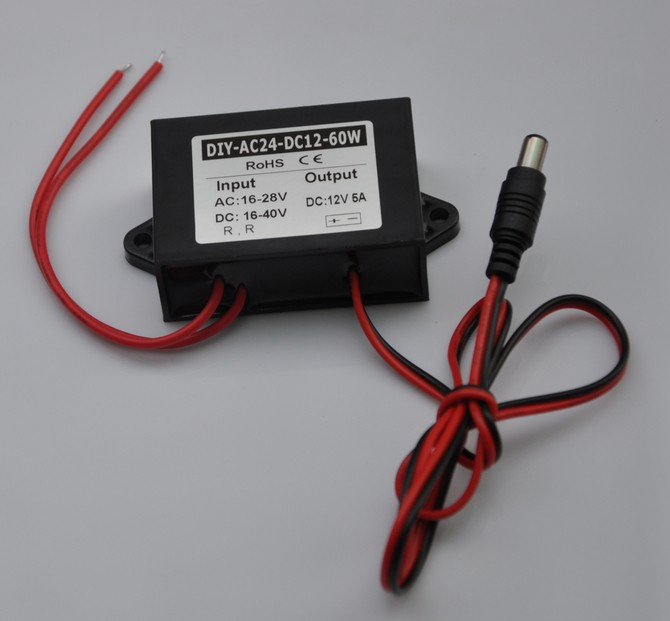 Converter AC 24V(16V-28V) Or DC(16V-40V) Buck To 12V 5A DC5.5*2.1 Output Step Down Power DC Car Power Adapter Regulator Module инверторы и преобразователи dc dc buck converter dc dc 24v 12v 1 5a 200584 24v to 12v car buck converter
