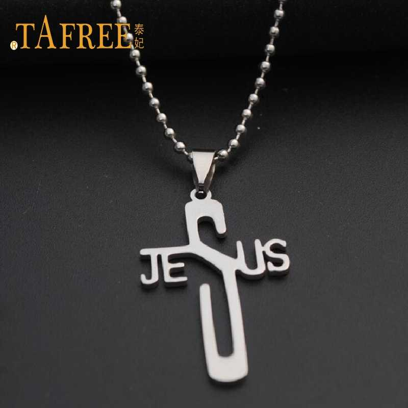 TAFREE Fashion Necklaces JESUS Cross Pendant Stainless Steel Necklaces & Pendants Bead Chain Women & Men Jewelry SQ073