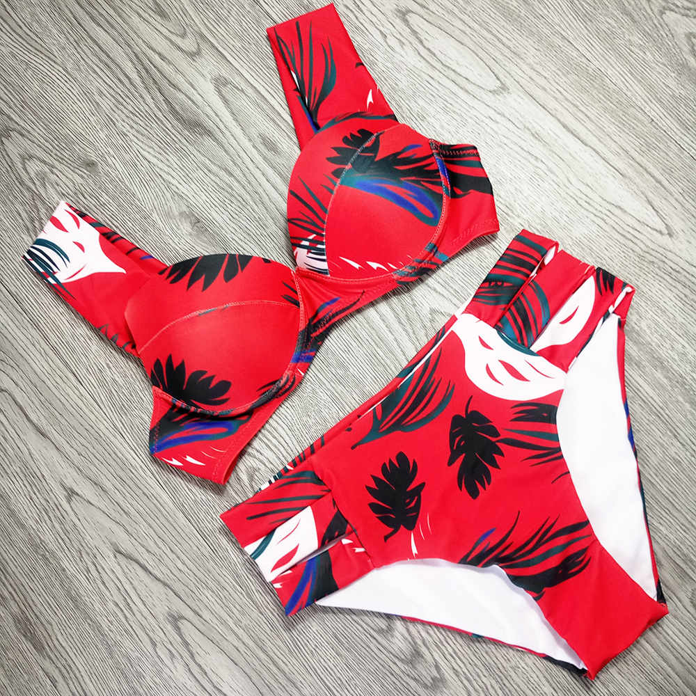 Sexy Bikinis Women Swimsuit 2019 Summer Cut Out Bathing Suits Push Up Bikini Print Swimwear Beach Wear With Underwire Biquini