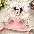 Novo 2016 Primavera outono padrão rato do bebê vestido roupas das meninas Bonito dos desenhos animados Manga Longa falsos 2 pcs crianças vestidos da menina recém-nascidos