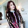 Новая Мода Высокого качества Женщин Реальных Природных Норки Пальто зима Красочные Долго Норковая Шуба Три Четверти Полосатый Мех куртка