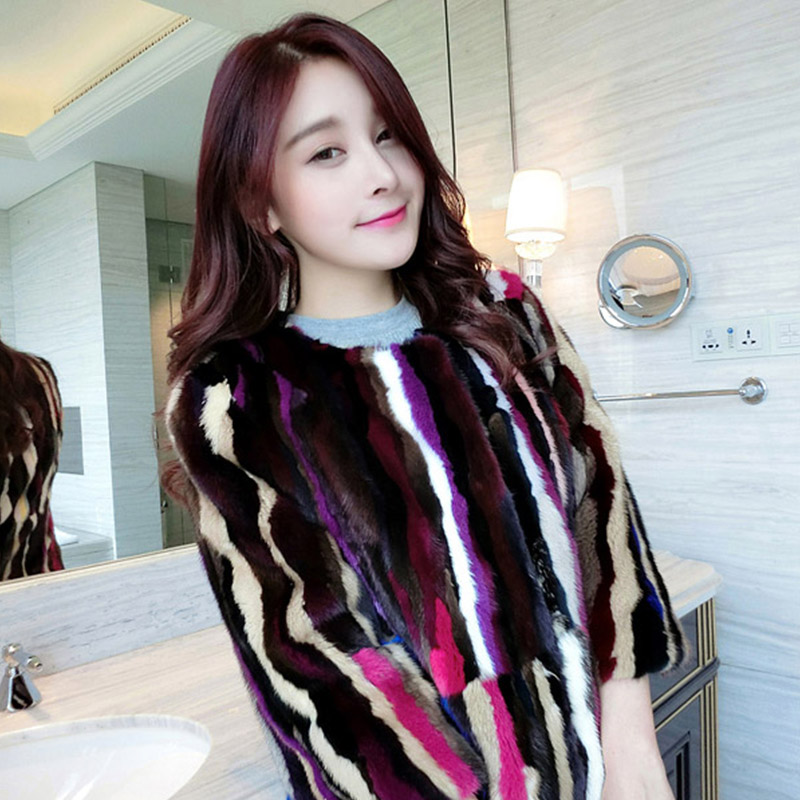 Nové módní ženy vysoce kvalitní skutečný přírodní kožich na srst v zimě barevné dlouhé kožichy se třemi čtvrtinami pruhované kožichy
