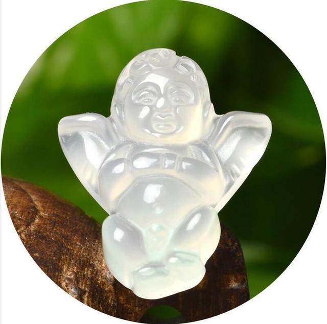 Koraba-bijoux à pendentif porte-bonheur 23x29mm   Bijoux fins, petits cristaux dagate Jade clairs naturels, mignons ange porte-bonheur, livraison gratuite