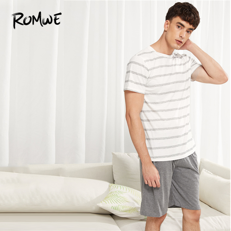 ROMWE Men Striped   Pajama     Set   2019 Casual Round Neck Short Sleeve Male Shirts And Pants Comfortable Summer Men Nightwear