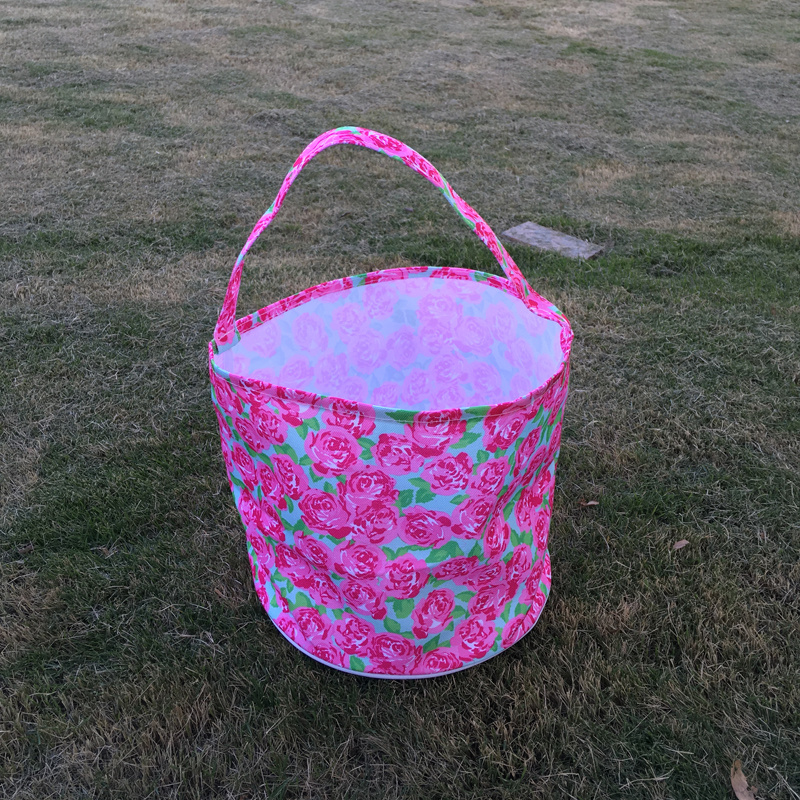 Wholesale Rose Easter Bucket , Flamingo Print Easter Tote, Lilly Easter Bag, Bohemian Easter Baskets DOMIL-1010432