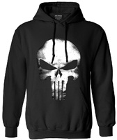 The Punisher Skull Long Sleeve Fleece Hip Hop Streetwear Hoodies Men Funny Sweatshirt 2017 Autumn New