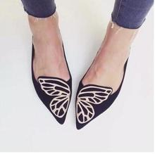 2016 Fashion Women Loafers Flats Pointed toe Shoes Woman Slip on Suede Butterfly Embroidery Oxford Black Pink Plus Size 40 L277