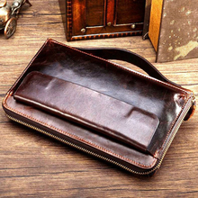 European and American business casual head layer cowhide oil wax retro long section of large capacity men's wallet free shipping