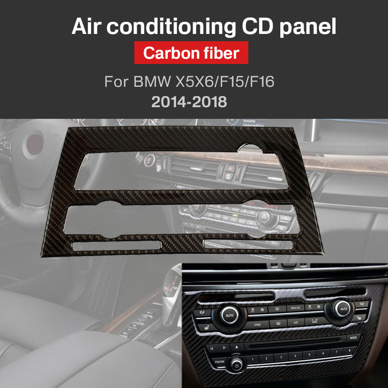 Машинные AC декоративный кожух углеродного волокна черный автомобильный CD-плеер консоль Накладка декор отделка салона для BMW X5 X6 F15 F16