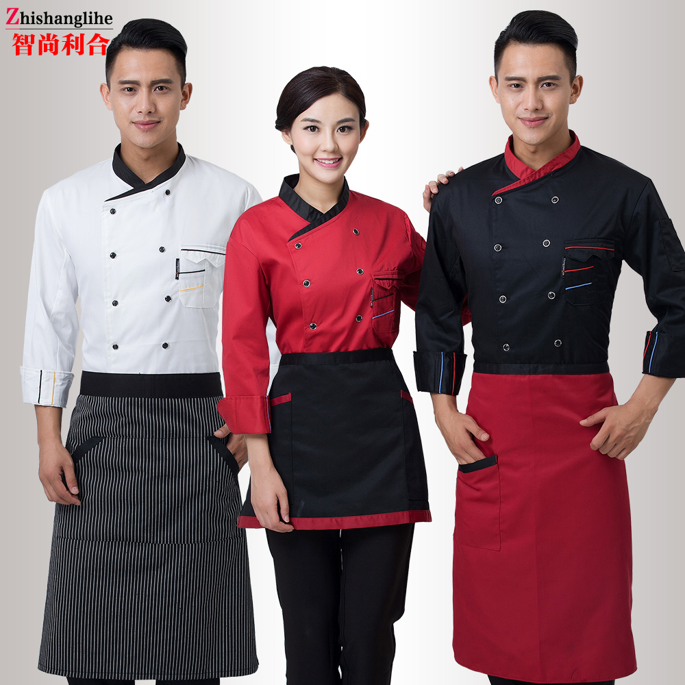 Chef uniform long sleeved spring chef uniform black red white men women chef jacket in chef - Uniformes de cocina ...