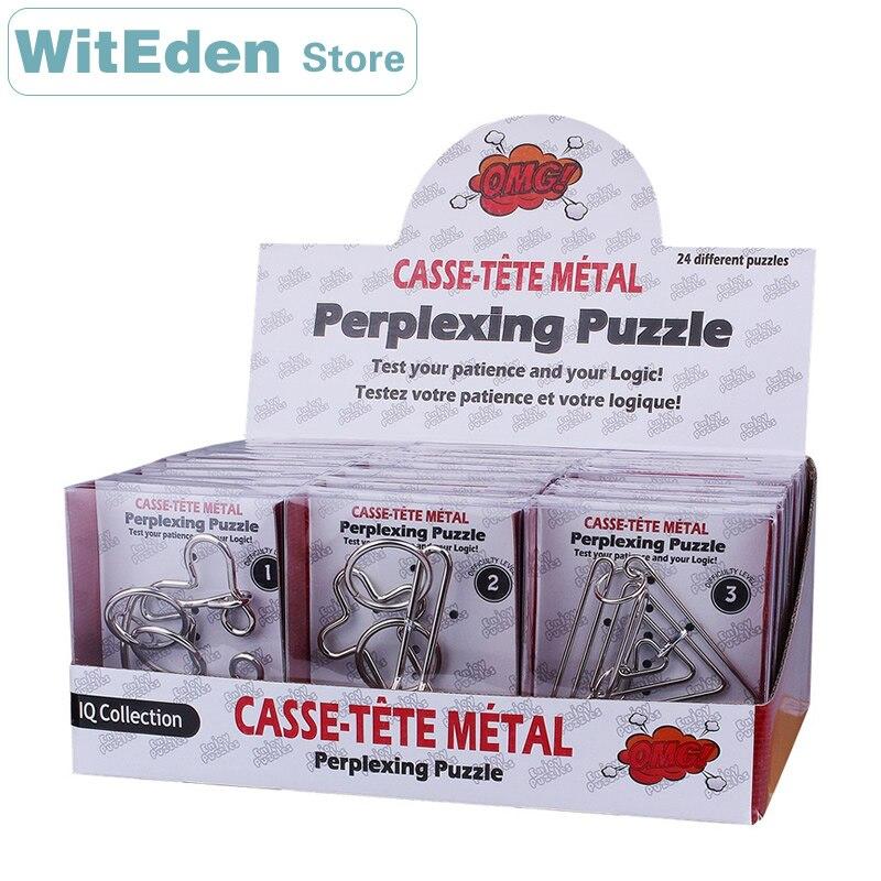 24 pièces/ensembles Casse-tête fil métallique perplexe Puzzles classique noeud Intelligence boucle emboîtable IQ Collection jouets Antistress
