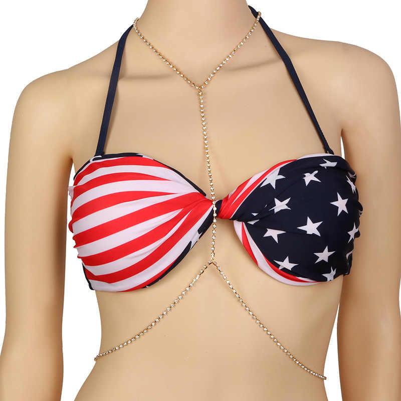 Womens Sexy Thời Trang Vàng Body Belly Eo Chain Bikini Beach Necklace Harness Đồ Trang Sức Cơ Thể