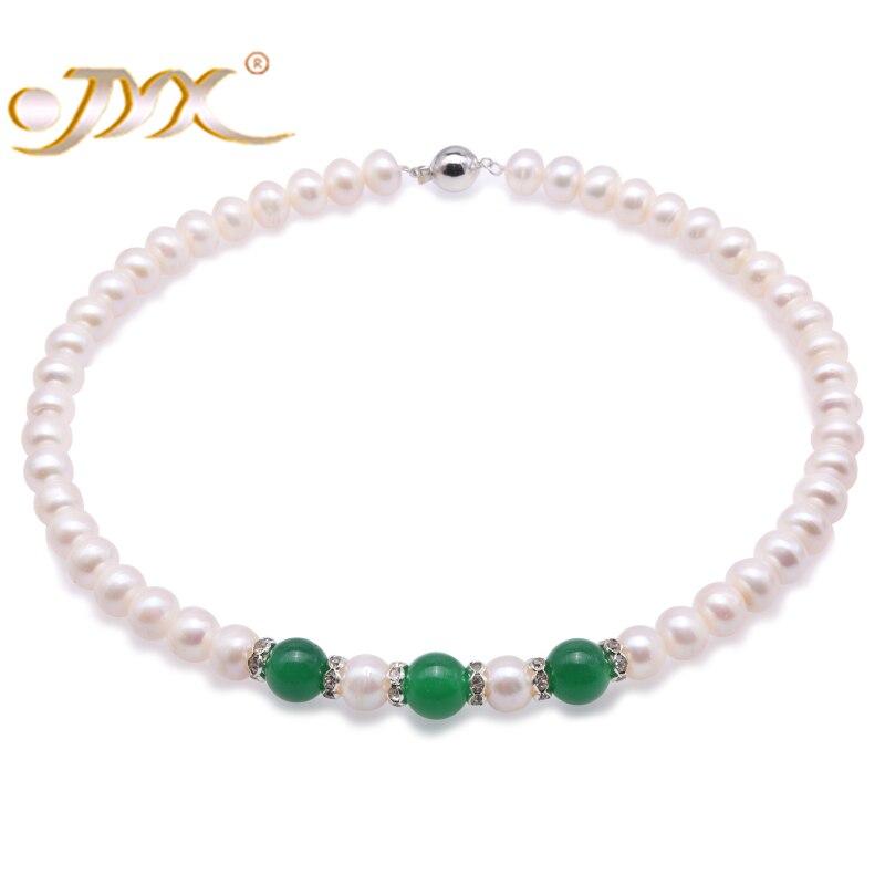JYX 10-10.5mm collier de perles de Jade blanc avec des cadeaux de Jade malaisJYX 10-10.5mm collier de perles de Jade blanc avec des cadeaux de Jade malais