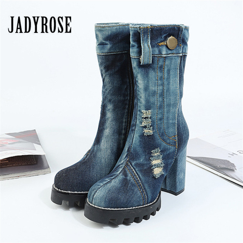 Jady Rose Women High Boots Chunky High Heel Denim Boots Ladies Platform Rubber Shoes Woman Punk Style Jean Botas Martin Boot womens punk ankle boots chunky heels platform side zip leather moto shoes woman high heel thick heel platform motrocycle boot