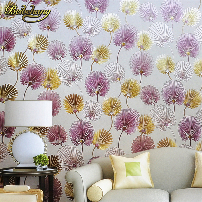 beibehang Wall paper KTV Hotel Bar Cafe Modern Dandelion Clothing Store Ladies Gold Foil Background Wallpaper papel de parede modern solid gold foil red peacock feather leaves wallpaper entertainment ktv bar background wall paper rolls