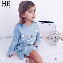 HE Hello Enjoy Toddler Girl Dress Autumn Spring Kids Cartoon Letter Embroidery Sweatshirt Fashion Long Sleeve Pullover Dress