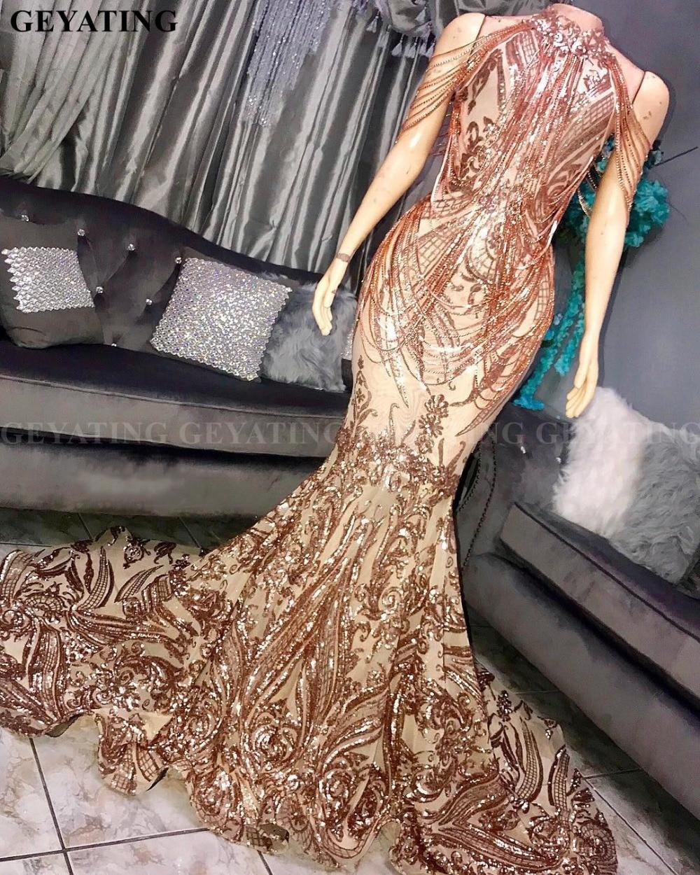 Sparkly Off Shoulder Tassel Rose Gold Sequin Mermaid Prom Dresses 2020 High Neck African Evening Formal Gowns Graduation Dress