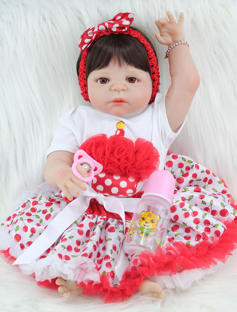55cm Full Body Silicone Reborn Girl Baby Doll Toy Lifelike Newborn Princess Babies Doll Fashion Kids Birthday Gift Bathe Toy 50cm soft body silicone reborn baby doll toy lifelike baby reborn sleeping newborn boy doll kids birthday gift girl brinquedos