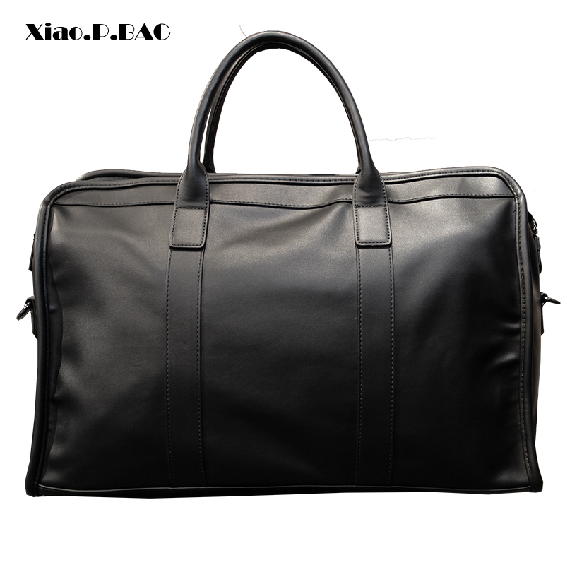 Image 4 - Men Business Bags Totes Superior Quality PU Leather Large Capacity 15 inch Laptop Bags Single Shoulder Bags Travel Duffle Bags-in Top-Handle Bags from Luggage & Bags