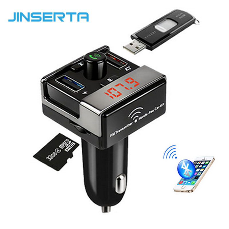 JINSERTA Car Bluetooth FM Transmitter Handsfree Car Kit FM Radio Car MP3 Player TF U Disk 2 USB Car Charger