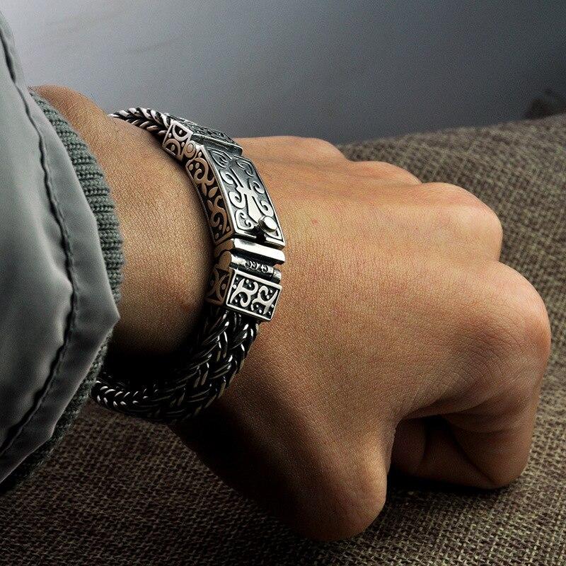 S925 Sterling Zilveren mannen en vrouwen Armband Breed 11mm Vintage Punk Rock Draad kabel Link Chain armband Thai Zilveren Sieraden-in Schakel & Link Armbanden van Sieraden & accessoires op  Groep 3
