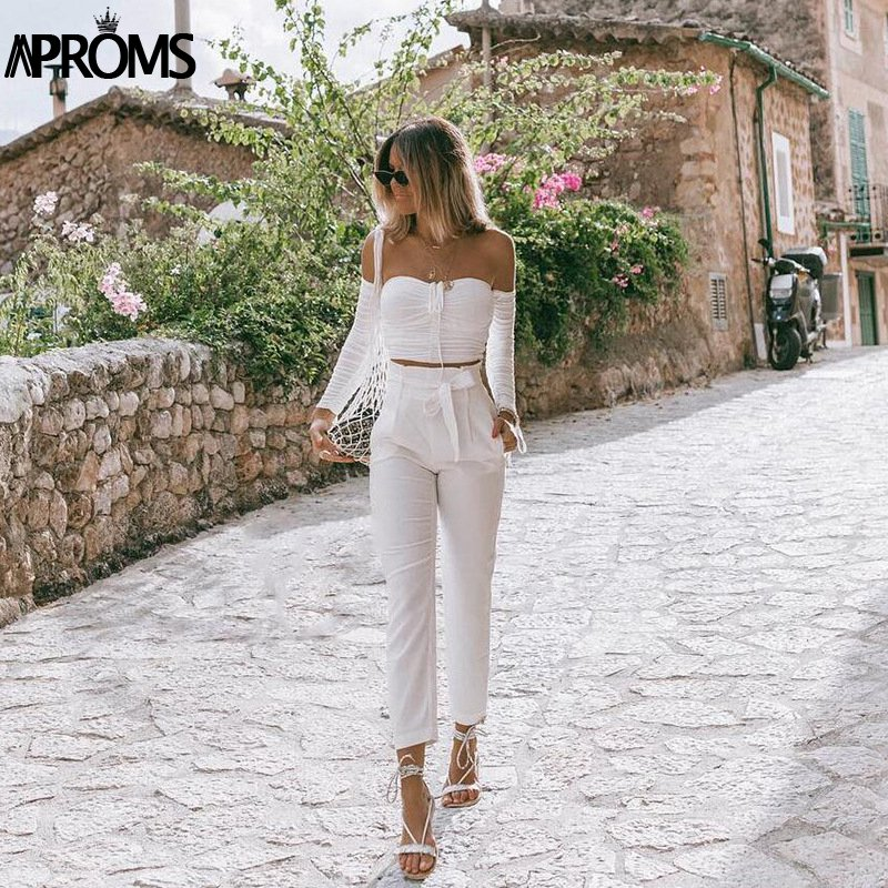 Aproms Coolest Off Shoulder Crop Tops Casual Ruched Pleated White T-shirt Women Short Sleeve Cropped Tshirt for Women Clothing 7