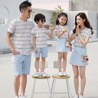 Family Matching Clothes 2018 Summer Children Striped T Shirt+skirt/shorts Suit Family Clothing Fashion Short sleeved Family Sets