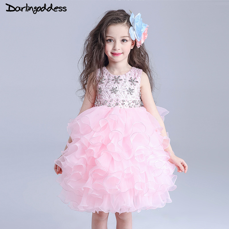 2017   Flower     Girls     Dresses   For Wedding Party White Pink Organza Formal Ball Gowns Kids Pageant Gowns First Communion   Dress   Bow