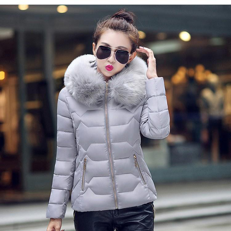 Womens Winter Jackets Coats Parkas Thick Warm Faux Fur Collar Hooded Anorak Ladies Jacket Female Manteau 4 Colors