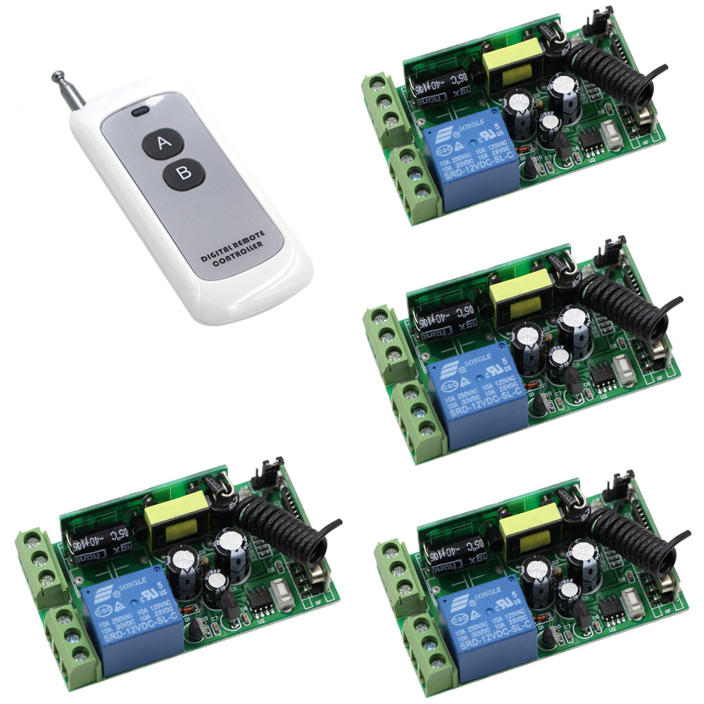 AC 85V 220V 250V 1CH 10A RF Radio Remote Control Switch Wide Voltage Relay 4piece Receivers & 1piece Transmitter for Smart Home ac 85v 220v 110v 250v 1ch 10a radio controller rf wireless remote control switch transmitter 4 receivers for electric curtain