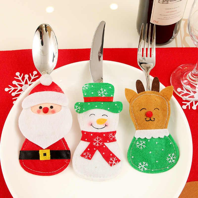 Topi Santa Rusa Natal Tahun Baru Saku Garpu Pisau Sendok Garpu Pemegang Tas Pesta Rumah Meja Makan Malam Dekorasi Peralatan Makan 62414