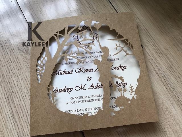 50pcs handmade bride and groom traditional laser cut wedding invitationsengagement cardsanniversary invitations - Engagement Cards