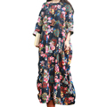 2016 Весна Осень Стиль Casual Dress Женщины 4XL плюс размер халат Старинные Печати Длинные Свободные Хлопок Белье Женщин Maxi Dress халат